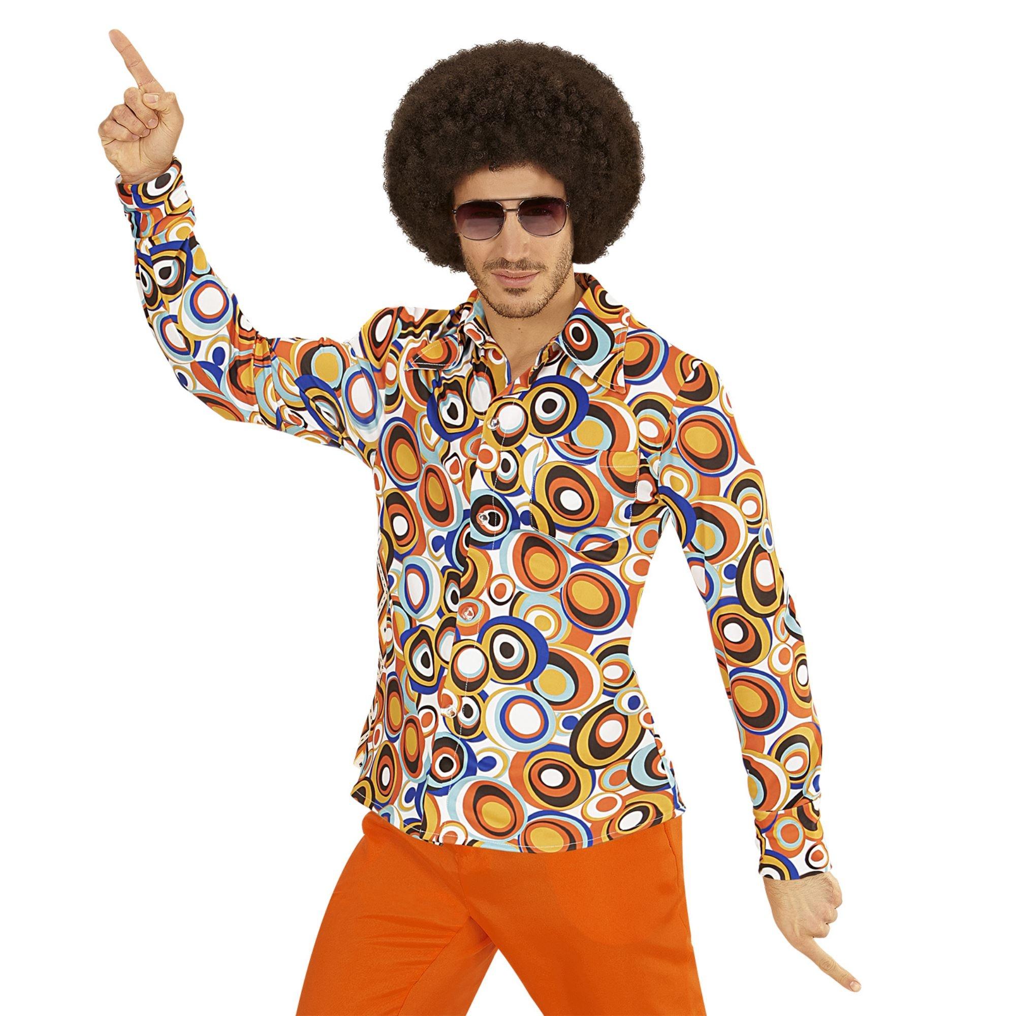 Jaren 70 disco hemd Groovy rondjes herfen