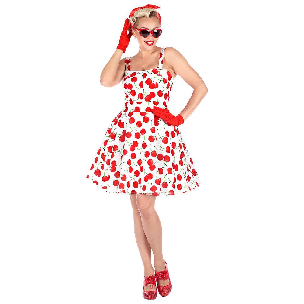 Hedendaags Leuke 50 jaren jurk kersen wit voor dames KE-53