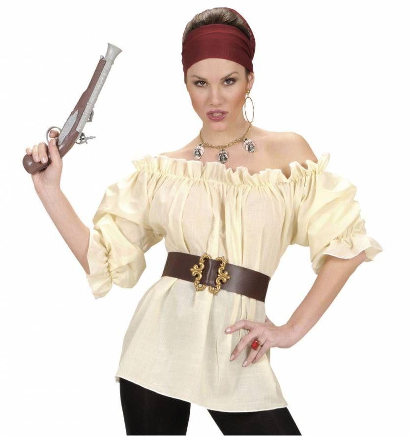 Dames blouse beige voor piraten kleding