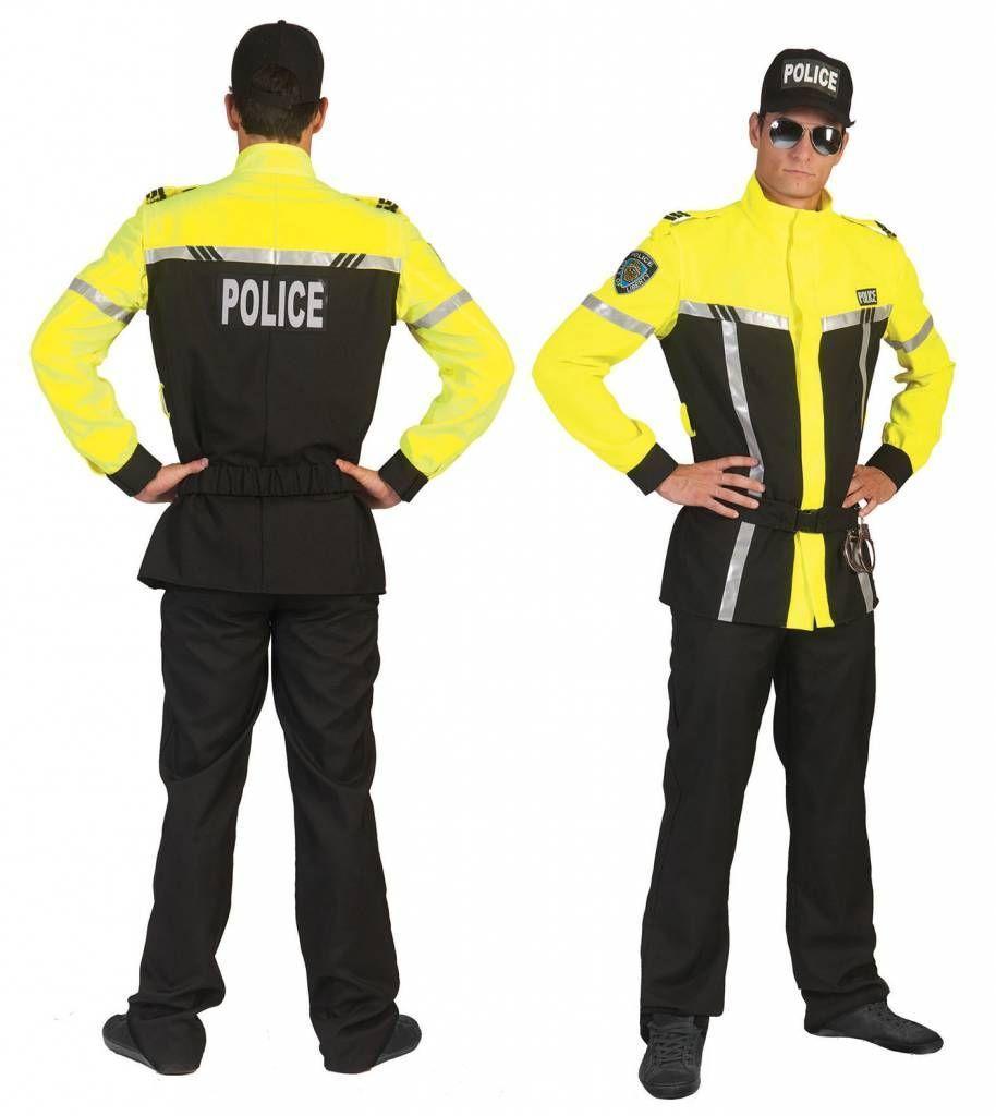 Bikercop politiepak in geel voor carnaval