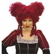 Carnavalskleding: Pruik, barok edelvrouw rood