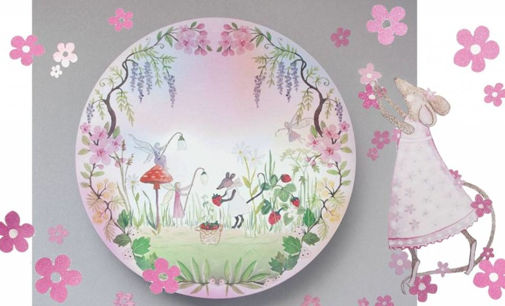A wild strawberries picking little mouse and her fairy friends