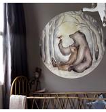 Beren en Roodborstje mini behangcirkel
