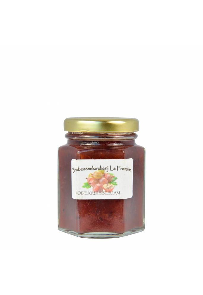 Bosbessenkwekerij La Française 2-Rode kruisbessen jam La Française (50 gram, 135 gram of 325 gram)
