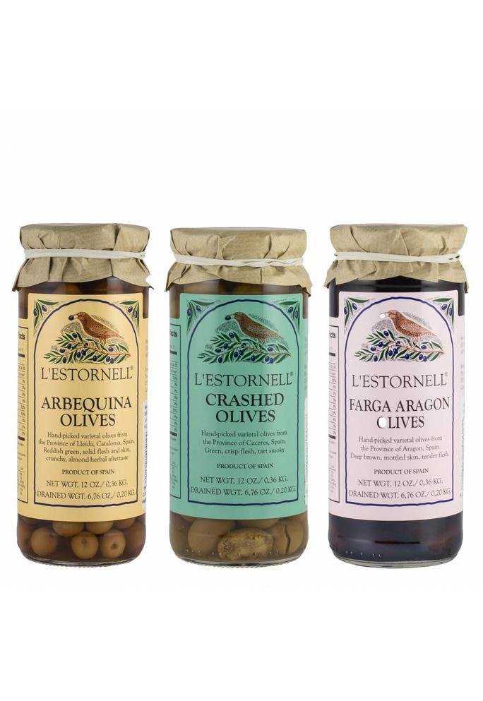 VEA L'Estornell olijven: 3 potjes (Arbequina, Manzanilla, Fara Aragon), 180 gr per potje