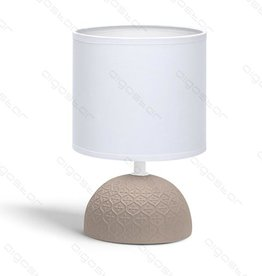 Aigostar Table lamp ceramic E14 with White Lampshade Brown base