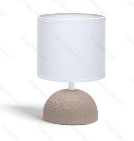 Aigostar Tafellamp keramiek  E14 met Witte Lampenkap  Bruine basis