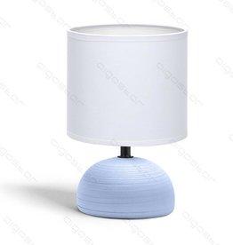 Aigostar Tafellamp 03 keramiek  E14 met Witte Lampenkap  Blauwe basis