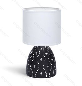 Aigostar Table lamp 05 ceramic E14 with White Lampshade Black base