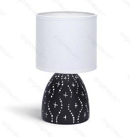 Aigostar Tafellamp 05 keramiek  E14 met Witte Lampenkap  Zwarte basis