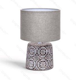 Aigostar Tafellamp 06 keramiek  E14 met bruine lampenkap  bruine basis