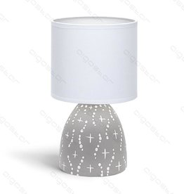 Aigostar Table lamp 05 ceramic E14 with White Lampshade gray base