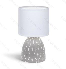 Aigostar Tafellamp 05 keramiek  E14 met Witte Lampenkap  grijze basis