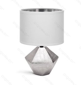 Aigostar Table lamp 14 ceramic E14 with white lampshade silver base