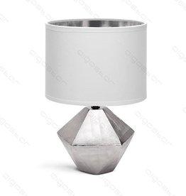 Aigostar Tafellamp 14 keramiek  E14 met witte lampenkap  zilveren basis