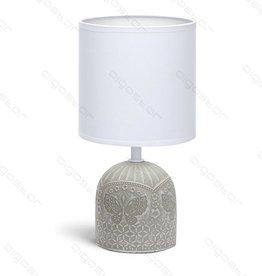Aigostar Tafellamp 04 keramiek  E14 met Witte Lampenkap  grijze basis