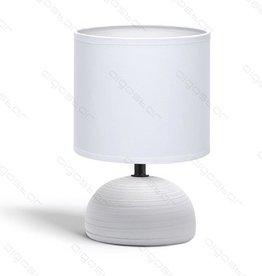 Aigostar Tafellamp 03 keramiek  E14 met Witte lampenkap  grijze basis