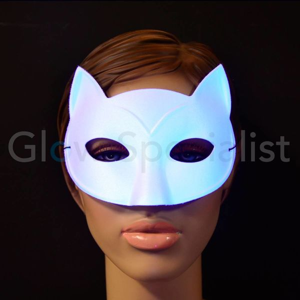 UV/BLACKLIGHT OOGMASKER - KAT - WIT