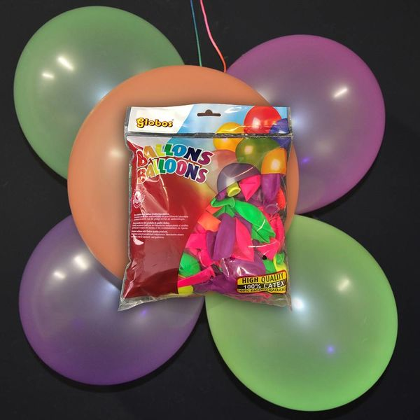 UV NEON BALLOONS - ASSORTED - 100 PIECES