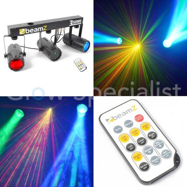 3-SOME LICHTSET 2x 57 RGBW LED MET LASER ROOD/GROEN