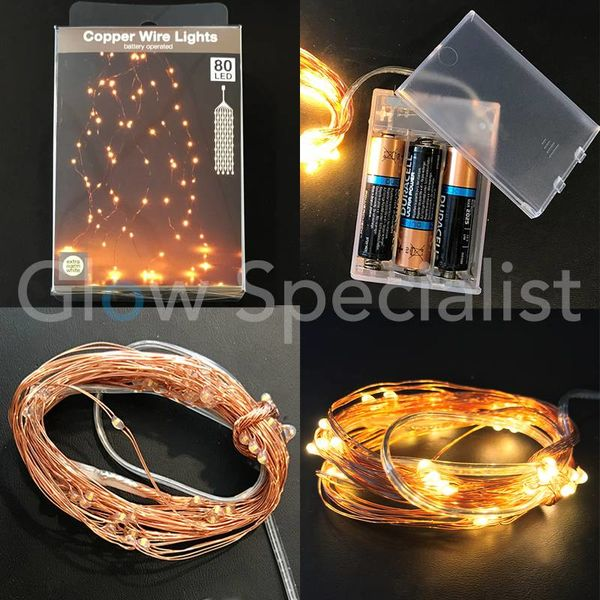 COPPER WIRE LIGHTS - 80 LEDS - EXTRA WARM WHITE