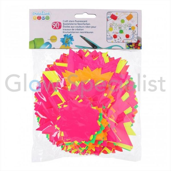 NEON CARDBOARD CRAFT STARS - 90 PCS