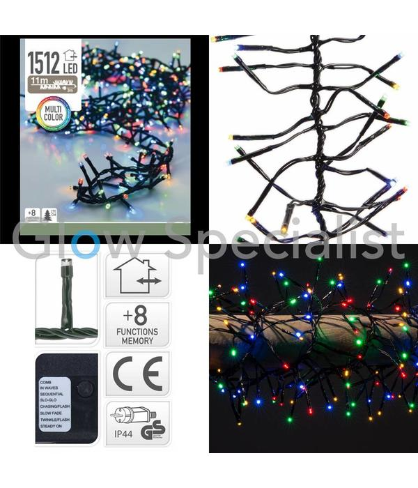LED CLUSTER LIGHTING - 1512 LIGHTS - MULTICOLOR - WITH 8 LIGHT FUNCTIONS