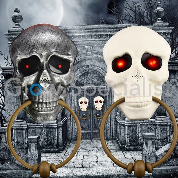 HALLOWEEN TALKING DOOR KNOCKER - WITH SKULL AND RED LED EYES