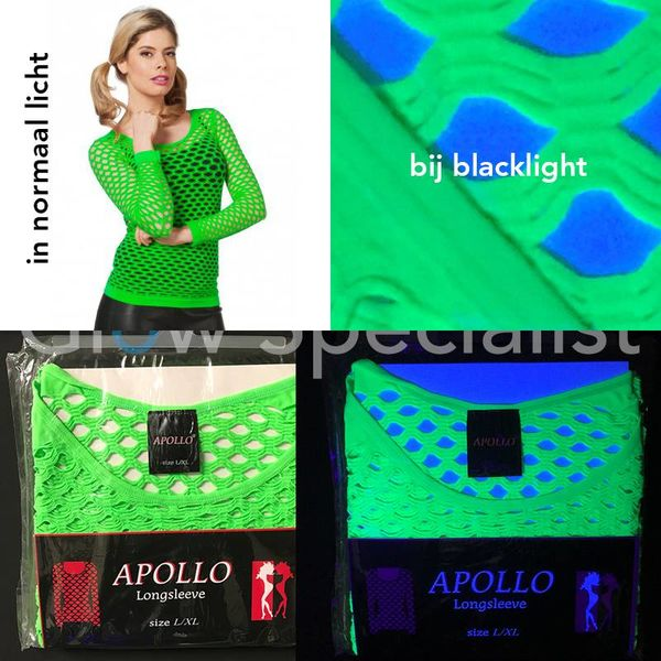 UV / BLACKLIGHT NEON SHIRT WITH BIG HOLES - GREEN