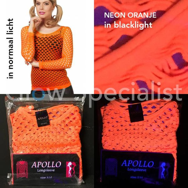 UV / BLACKLIGHT NEON SHIRT WITH BIG HOLES - ORANGE