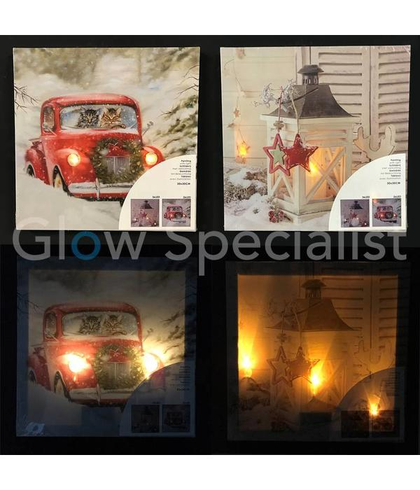 CANVAS PAINTING  WITH LED 30 X 30CM - SET OF 2
