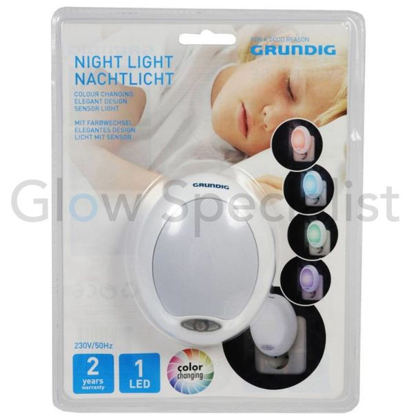 LED NIGHT LIGHT DIRECT PLUG IN WITH SENSOR - COLOUR CHANGING