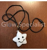 NECKLACE WITH WHITE SMILEY STAR  - FLASHING MULTICOLOR LED