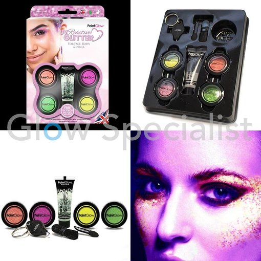 - PaintGlow UV REACTIVE GLITTER GIFTSET FOR FACE, BODY & NAILS