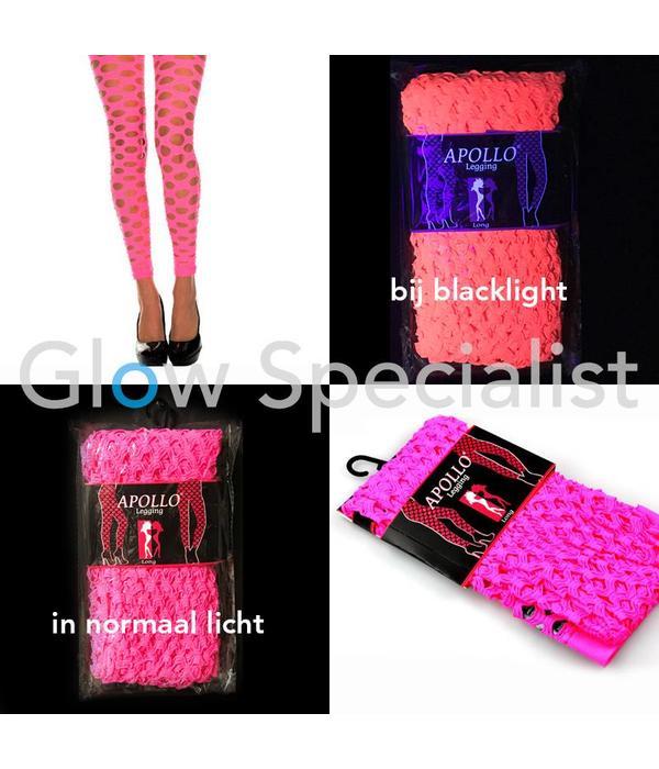 UV / BLACKLIGHT NEON LEGGING - WITH BIG HOLES - PINK