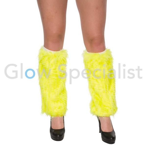 UV / BLACKLIGHT LEG WARMERS FUR - NEON YELLOW