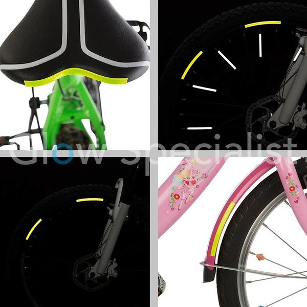 NEON YELLOW REFLECTIVE STICKERS - 16 PIECES