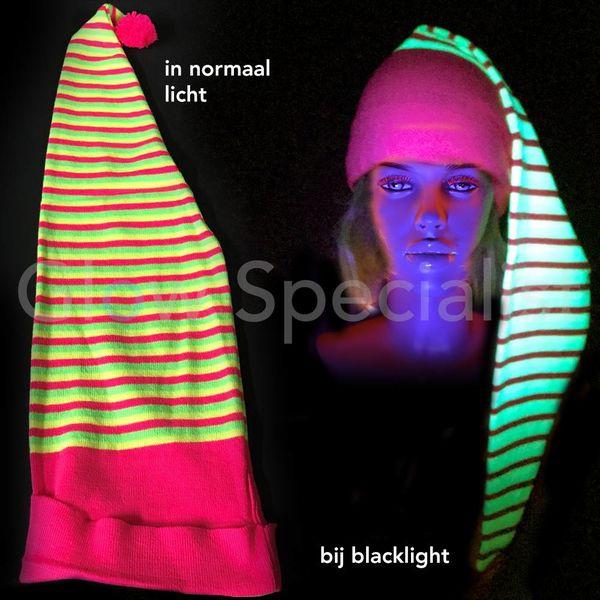 UV / BLACKLIGHT GESTREEPTE NEON MUTS