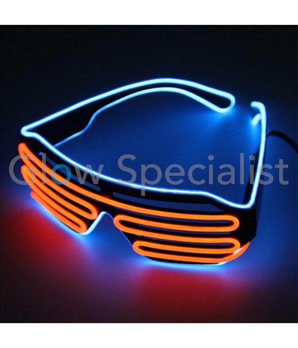 18e693728edbd1 EL-WIRE SHUTTER BRIL - ZWART MONTUUR - ROOD-ORANJE BLAUW LED - Koop je bij  Glow Specialist! - Glow Specialist