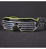EL-WIRE SHUTTER GLASSES - BLACK MODEL - WHITE/YELLOW LED