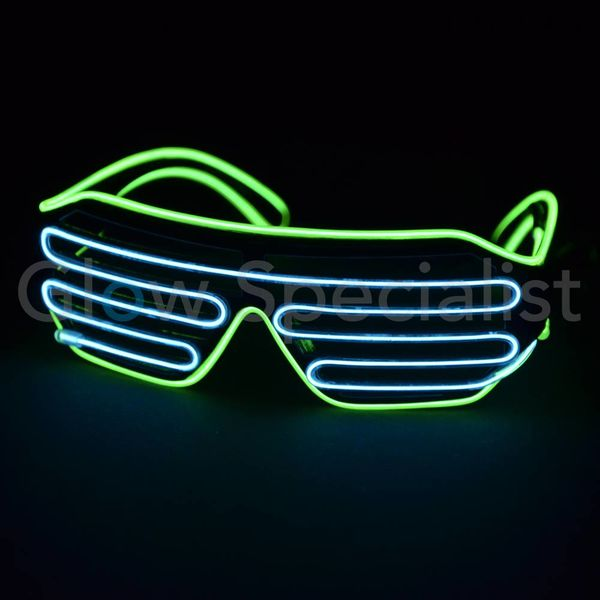 EL-WIRE SHUTTER GLASSES - BLACK MODEL - WHITE/YELLOW LED