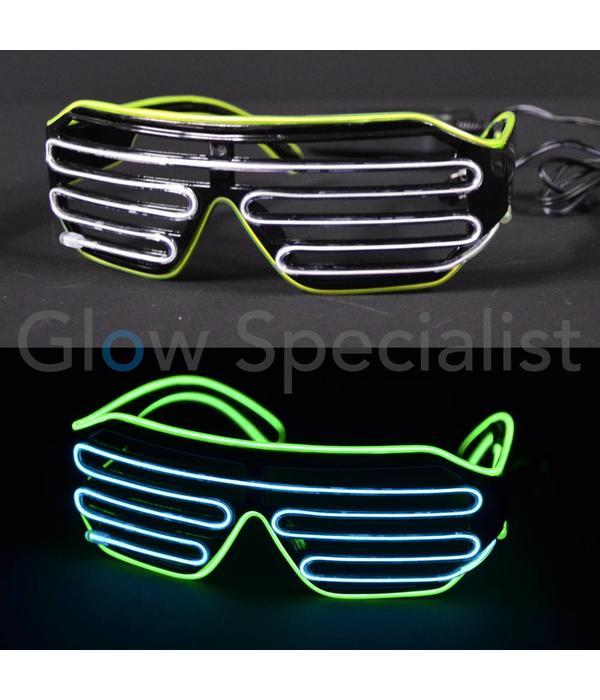 fe7ffd160ed4c9 EL-WIRE SHUTTER BRIL - ZWART MONTUUR - WIT GEEL LED - Koop je bij Glow  Specialist! - Glow Specialist