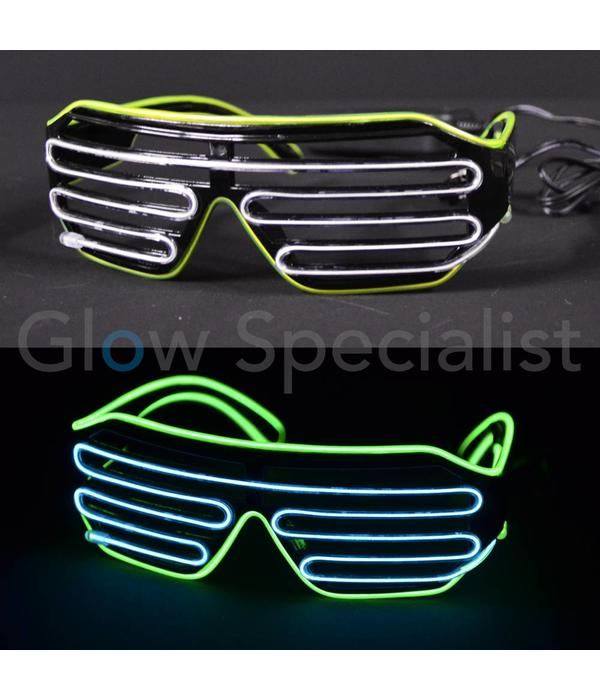6990a4ae14f EL-WIRE SHUTTER GLASSES - BLACK FRAME - WHITE YELLOW LED - Glow Specialist!  - Glow Specialist