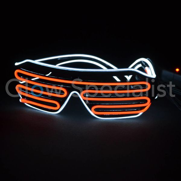 EL-WIRE SHUTTER GLASSES - BLACK FRAME - ORANGE/WHITE LED