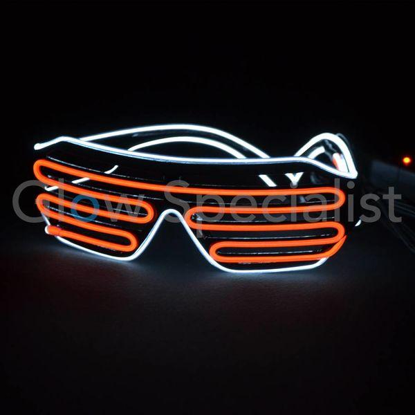 EL-WIRE SHUTTER GLASSES - BLACK FRAME - RED/WHITE LED