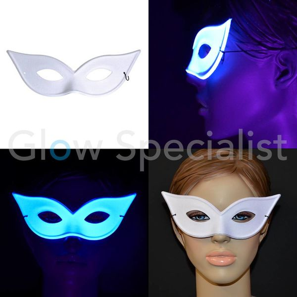 UV/BLACKLIGHT OOGMASKER - VLINDER - WIT