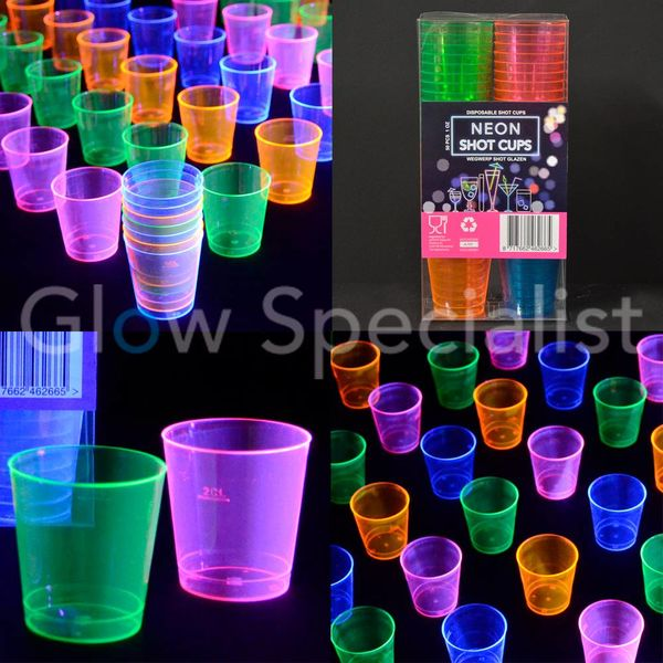 NEON SHOT CUPS - ASSORTED - 50 PCS