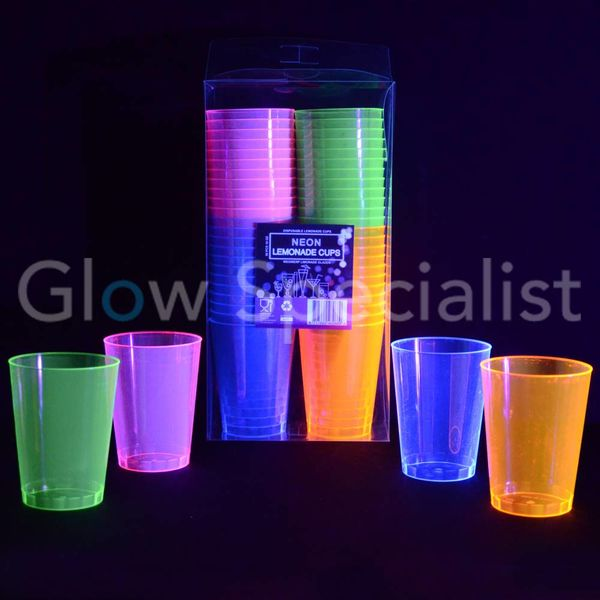 NEON LEMONADE CUPS - ASSORTED - 50 PIECES