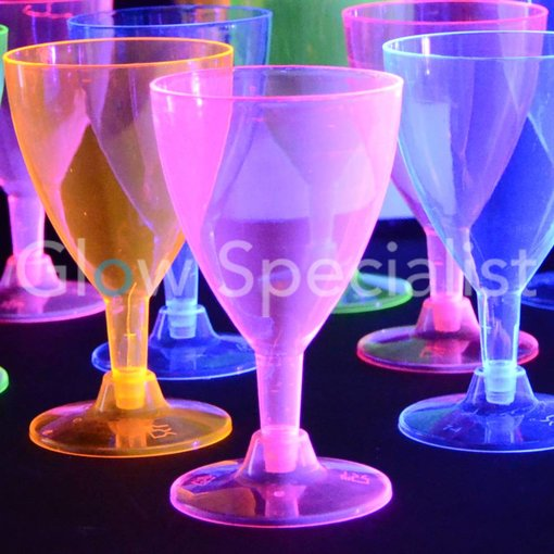 NEON WINE CUPS - ASSORTED - 12 PIECES