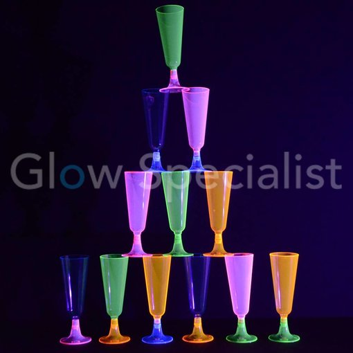 NEON CHAMPAGNE FLUTE - ASSORTED - 12 PIECES